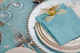 stock photo of wedding table decor  - Cymbidium Orchid Table Set with charger plate  - JPG