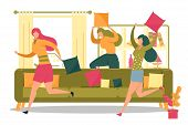 Friends Or Roommates, Girl Cartoon Characters Having Fun Running And Comically Fighting With Pillows poster