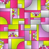 Flat Pattern With Eyes In Geometric Shapes Grid Scandinavian Fashion Retro Textile Print. Modern Bac poster
