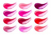 Lip gloss face make-up samples palette. Set of colorful cosmetic liquid lipgloss in different colour poster