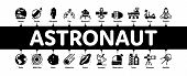 Astronaut Equipment Minimal Infographic Web Banner Vector. Astronaut Spacesuit And Helmet, Shuttle A poster