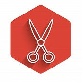 White Line Scissors Hairdresser Icon Isolated With Long Shadow. Hairdresser, Fashion Salon And Barbe poster