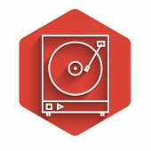White Line Vinyl Player With A Vinyl Disk Icon Isolated With Long Shadow. Red Hexagon Button. Vector poster