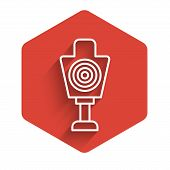 White Line Human Target Sport For Shooting Icon Isolated With Long Shadow. Clean Target With Numbers poster