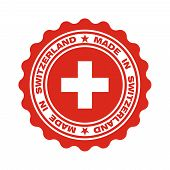 Stamp With Text Made In Switzerland. Logo Swiss Quality. Swiss Flag In Centre Circle. Icon Premium Q poster