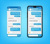 Ui Ux Phone Chat Blue Interface. Text Message Mobile Phone. Text Messaging Bubles In Mobile Applicat poster