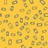 Blue Line Mobile Smart Phone With App Delivery Tracking Icon Isolated Seamless Pattern On Yellow Bac poster