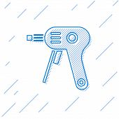 Blue Line Electric Hot Glue Gun Icon Isolated On White Background. Hot Pistol Glue. Hot Repair Work  poster