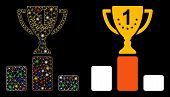 Glowing Mesh First Place Cup Icon With Glow Effect. Abstract Illuminated Model Of First Place Cup. S poster