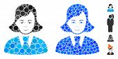 Clerk Lady Mosaic Of Round Dots In Variable Sizes And Color Tints, Based On Clerk Lady Icon. Vector  poster