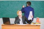 School Education. Prepare For School Lesson. Check Homework. Write Down Your Task. Teachers Working  poster