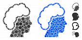 Blonde Profile Mosaic Of Round Dots In Different Sizes And Color Tints, Based On Blonde Profile Icon poster