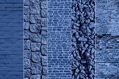 Collage Toned In Classic Blue Stone Road Pavement Backgrounds. Pavement Of Granite. Blue Cobblestone poster
