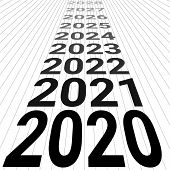 2020 New Year Banner Background 3d Perspective Vector Look To The Future 2020 Happy New Year Perspec poster