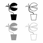 Carnivorous Plant Flytrap Monster With Teeths In Pot Icon Outline Set Black Grey Color Vector Illust poster