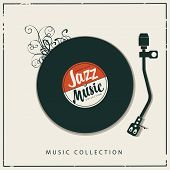 Vector Music Poster Or Banner With Record Player, Old Vinyl Record And Calligraphic Inscription Jazz poster