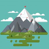 Flat Landscape. Mountains, Trees And Hills. Red Flag On The Highest Peak. Route To The Peak. The Pat poster
