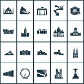 Culture Icons Set With Stonehenge, Berlin Wall, Brandenburg Gate Architecture Elements. Isolated Ill poster