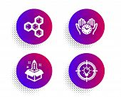 Chemical Formula, Startup And Safe Time Icons Simple Set. Halftone Dots Button. Idea Sign. Chemistry poster