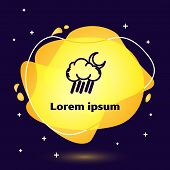 Black Line Cloud With Rain And Moon Icon Isolated On Dark Blue Background. Rain Cloud Precipitation  poster