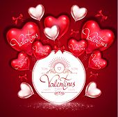 Happy Valentines Day Card Template With Colorful And Glossy Red Foil Heart Balloons And Bows. Vecto poster