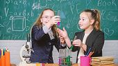 Biology Science. Happy Little Girls. Little Girls In School Lab. Science Is Future. Chemistry Resear poster