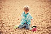 Child Having Fun With Little Shovel And Plant In Pot. Planting In Field. Planting Seedlings. Little  poster