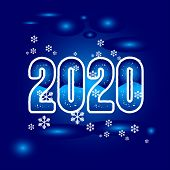 2020 Colorful Text Isolated On Blue Background, New Year 2020, 2020 Text For Calendar New Years, Hap poster