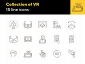 Collection Of Vr Icons. 360 Degrees, Robotic Hand, Man In Vr Glasses. Virtual Reality Concept. Vecto poster