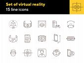 Set Of Virtual Reality Icons. Mobile And Cube, Eye Scanner, Game Consol. Virtual Reality Concept. Ve poster