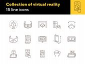 Collection Of Virtual Reality Line Icons. Game Console, Vr Cube, Pictures In Phone. Virtual Reality  poster