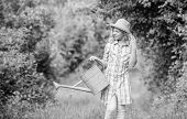 Watering Tools. Girl Child Hold Watering Can. Spring Gardening Checklist. Improve Irrigation Timing. poster
