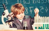 Little Boy At Lesson. Back To School. Little Boy Is Making Science Experiments. Biology Science. Kid poster