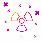 Color Line Radioactive Icon Isolated On White Background. Radioactive Toxic Symbol. Radiation Hazard poster