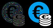 Glossy Mesh Euro Coin Stack Icon With Glow Effect. Abstract Illuminated Model Of Euro Coin Stack. Sh poster
