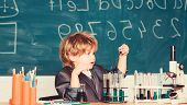 Kid Study Biology Chemistry. Knowledge Day. Basic Knowledge Primary School Education. Happy Childhoo poster