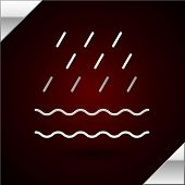 Silver Line Rain And Waves Icon Isolated On Dark Red Background. Rain Cloud Precipitation With Rain  poster