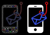 Glowing Mesh Smartphone Mail Phishing Icon With Lightspot Effect. Abstract Illuminated Model Of Smar poster