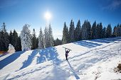 Happy Woman With Skis In Center Of Amazing Panoramic View Of Sky And Forest. Snow-covered Mountain H poster