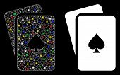 Glowing Mesh Peaks Playing Cards Icon With Sparkle Effect. Abstract Illuminated Model Of Peaks Playi poster