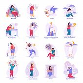 Mental Disorders Flat Icons Illustrated Bipolar Disorder Dementia Autism Bulimia Depression Sleepwal poster