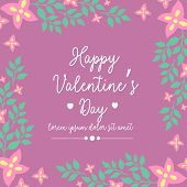 Happy Valentine Poster, With Elegant Magenta Background And Beautiful Pink Floral Frame. Vector poster