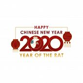 2020 Colorful Vector Text Isolated On White Background, Chinese New Year 2020, 2020 Text For Chinese poster