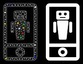 Flare Mesh Robot Communicator Icon With Sparkle Effect. Abstract Illuminated Model Of Robot Communic poster