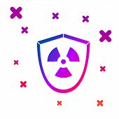 Color Radioactive In Shield Icon Isolated On White Background. Radioactive Toxic Symbol. Radiation H poster