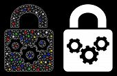 Glowing Mesh Lock Gears Icon With Glitter Effect. Abstract Illuminated Model Of Lock Gears. Shiny Wi poster
