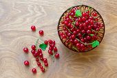 Transparent Bowl Full Of Juicy Red Current Berries On Wooden Table. Freshly Picked Ripe Red Currants poster