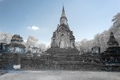 Ruined Ancient Buddhist Temple And Pagoda In Srisatchanalai Historical Park, Sukhothai, Thailand In  poster
