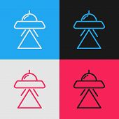 Color Line Ufo Flying Spaceship Icon Isolated On Color Background. Flying Saucer. Alien Space Ship.  poster