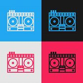 Color Line Dj Remote For Playing And Mixing Music Icon Isolated On Color Background. Dj Mixer Comple poster